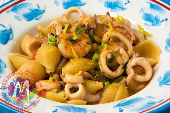 Conchigliette risottate con gamberi, calamari e bottarga3